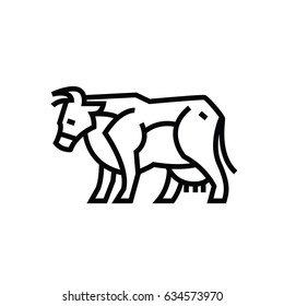 Linear stylized drawing of cow - for icon or sign template