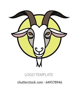 Linear stylized drawing Goat's head - stylish portrait for design
