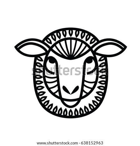 Linear stylized drawing - head of sheep or ram - for icon or sign template