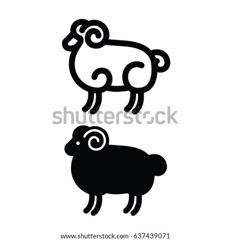 Linear stylized drawing of ram - for icon or sign template