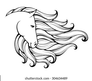 Linear stylized horse. Black and white graphic. Vector illustration can be used as design for tattoo, t-shirt, bag, poster, postcard