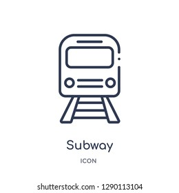 Linear subway icon from City elements outline collection. Thin line subway vector isolated on white background. subway trendy illustration
