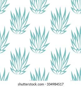 Linear succulent bush seamless pattern on white background. Vector illustration.