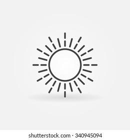 Linear sun logo - simple vector dark thin isolated icon or sign