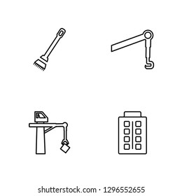 Linear Sweeping Broom, Big Derrick with Boxes, Pulley Hook, Big Building Vector Illustration Of 4 outline Icons. Editable Pack Of Sweeping Broom, Big Derrick with Boxes, Pulley Hook, Big Building