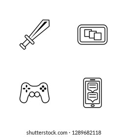 Linear Sword, Game control, Depth perception, Smartphone Vector Illustration Of 4 outline Icons. Editable Pack Of Sword, Game control, Depth perception, Smartphone