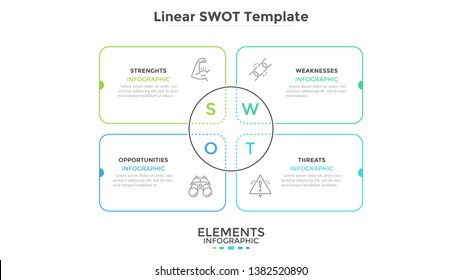 Linear SWOT chart with 4 rectangular elements. Simple diagram for business analysis and strategic planning. Minimal infographic design template. Modern vector illustration for presentation, banner.