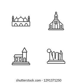 Linear Taj mahal, Lake bled, Odense, Grand canyon Vector Illustration Of 4 outline Icons. Editable Pack Of Taj mahal, Lake bled, Odense, Grand canyon