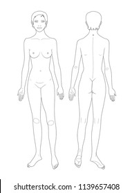 Linear templates of woman's figure.  Front and back views. Medical template. Vector illustration.
