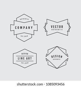 Linear thin line badge logo geometric shape retro design elements vector