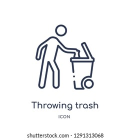 Linear throwing trash icon from Behavior outline collection. Thin line throwing trash vector isolated on white background.