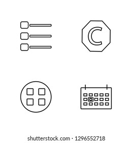 Linear Thumbnails, Thumbnails, Copyright, Next week Vector Illustration Of 4 outline Icons. Editable Pack Of Thumbnails, Thumbnails, Copyright, Next week