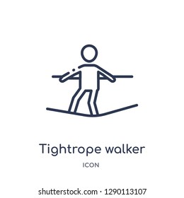 Linear tightrope walker icon from Circus outline collection. Thin line tightrope walker vector isolated on white background. tightrope walker trendy illustration