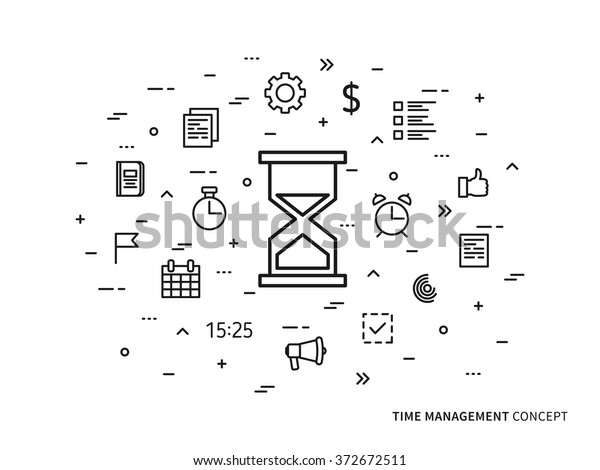 Linear Time Management Clock Alarm Note Stock Vector