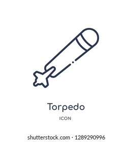 Linear torpedo icon from Army and war outline collection. Thin line torpedo vector isolated on white background. torpedo trendy illustration