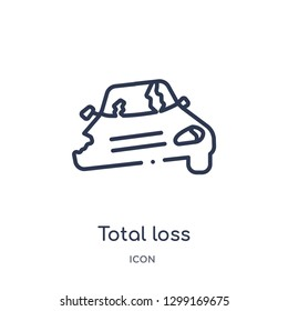 Linear total loss icon from Insurance outline collection. Thin line total loss icon isolated on white background. total loss trendy illustration