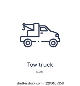 Linear tow truck icon from Construction outline collection. Thin line tow truck vector isolated on white background. tow truck trendy illustration