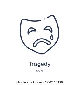 Linear tragedy icon from Cinema outline collection. Thin line tragedy vector isolated on white background. tragedy trendy illustration