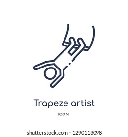 Linear trapeze artist icon from Circus outline collection. Thin line trapeze artist vector isolated on white background. trapeze artist trendy illustration