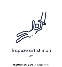 Linear trapeze artist man icon from Circus outline collection. Thin line trapeze artist man vector isolated on white background. trapeze artist man trendy illustration