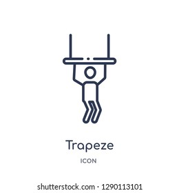 Linear trapeze icon from Circus outline collection. Thin line trapeze vector isolated on white background. trapeze trendy illustration