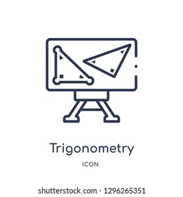 Linear trigonometry icon from Elearning and education outline collection. Thin line trigonometry icon vector isolated on white background. trigonometry trendy illustration