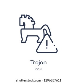 Linear trojan icon from Cyber outline collection. Thin line trojan icon vector isolated on white background. trojan trendy illustration