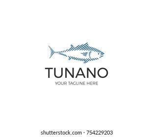 Linear Tuna Logo Template. Sport Fishing Vector Line Design. Sea Fish Illustration