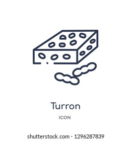 Linear turron icon from Culture outline collection. Thin line turron icon vector isolated on white background. turron trendy illustration