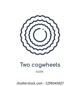 Linear two cogwheels icon from Mechanicons outline collection. Thin line two cogwheels icon isolated on white background. two cogwheels trendy illustration