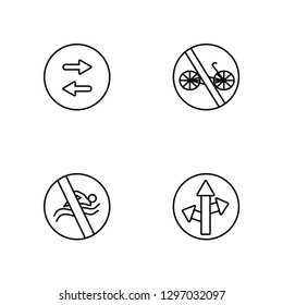 Linear Two ways, No swimming, No bicycle, Straight Vector Illustration Of 4 outline Icons. Editable Pack Of Two ways, No swimming, No bicycle, Straight
