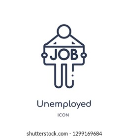 Linear unemployed icon from Insurance outline collection. Thin line unemployed icon isolated on white background. unemployed trendy illustration