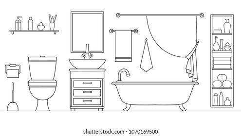 Linear vector bathroom. Plan of the restroom with furniture arrangement. Vector. Drawing. Illustration in an outline style.