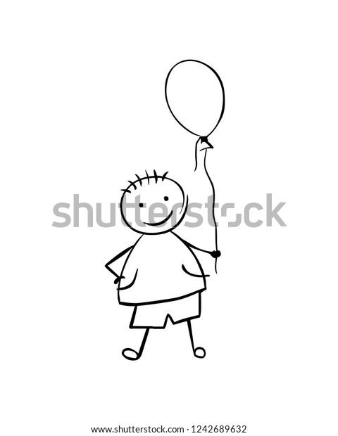Linear Vector Boy Balloon Man Childrens Stock Vector (Royalty Free