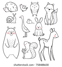 The linear vector children's illustration set of cute forest animals