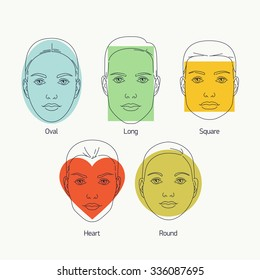 Linear vector design on various female face shapes and types including oval, long, round, heart and square shapes. Ideal for makeup tutorials, cosmetics and beauty web and graphic design
