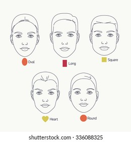 Linear vector design on various female face shapes and types including oval, long, round, heart and square shapes. Ideal for makeup tutorials, blogs, cosmetics and beauty web and graphic design