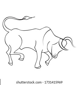 Linear vector drawing of a bull, symbol of the new year.