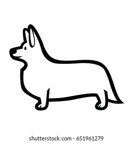 linear vector drawing of standing in profile dog Welsh Corgi breed