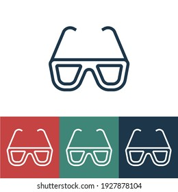 Linear vector icon with 3d glasses