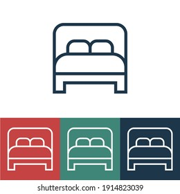 Linear vector icon with double bed