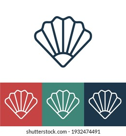 Linear vector icon with seashell