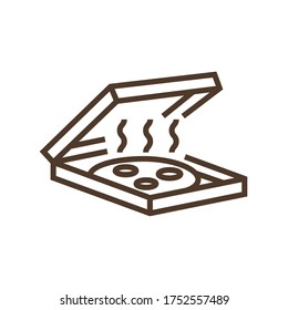 Linear vector icon with warm pizza