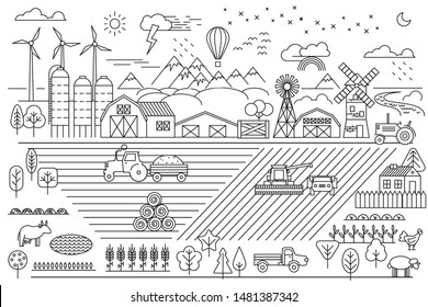 Linear vector illustration. Green farm. Fields, vegetable gardens, hangars, buildings, barns, agricultural machinery. Eco farm.