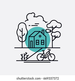 Linear vector minimalistic illustration on eco friendly everyday life with house, trees and bicycle