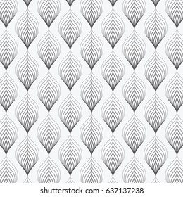 linear vector pattern, repeating linear abstract leaves, gradient changing color. pattern is on swatch panel
