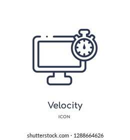 Linear velocity icon from Artifical intelligence outline collection. Thin line velocity vector isolated on white background. velocity trendy illustration