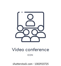 Linear video conference icon from Human resources outline collection. Thin line video conference icon isolated on white background. video conference trendy illustration