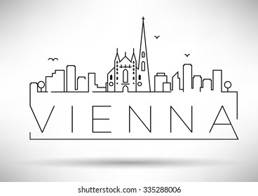 Linear Vienna City Silhouette with Typographic Design