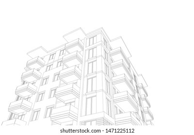 Linear view of house building architecture